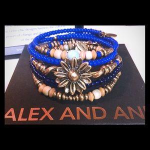 Alex & Ani 5 Bracelet Set: Wild Dunes Set, Blue